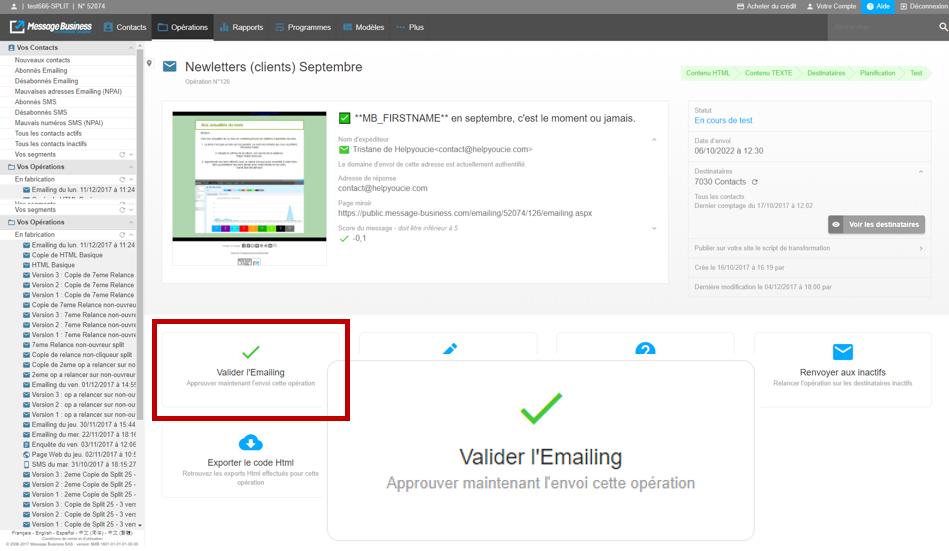Valider-emailing