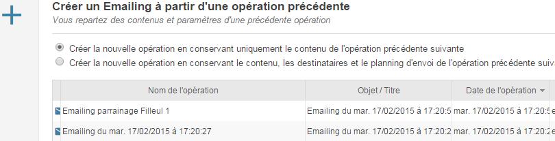 Créez un nouveau emailing depuis une opération précédente