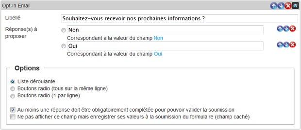 Insérez un champ Opt-In Email pour gérer l'abonnement Emailing de vos Contacts