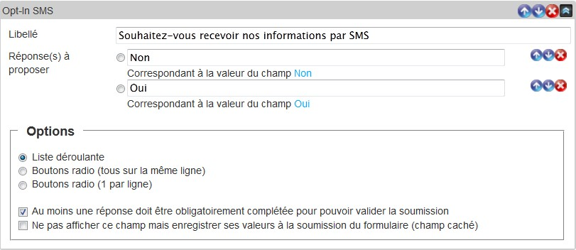 Insérez à champ Opt-In SMS pour solliciter vos contacts via SMS