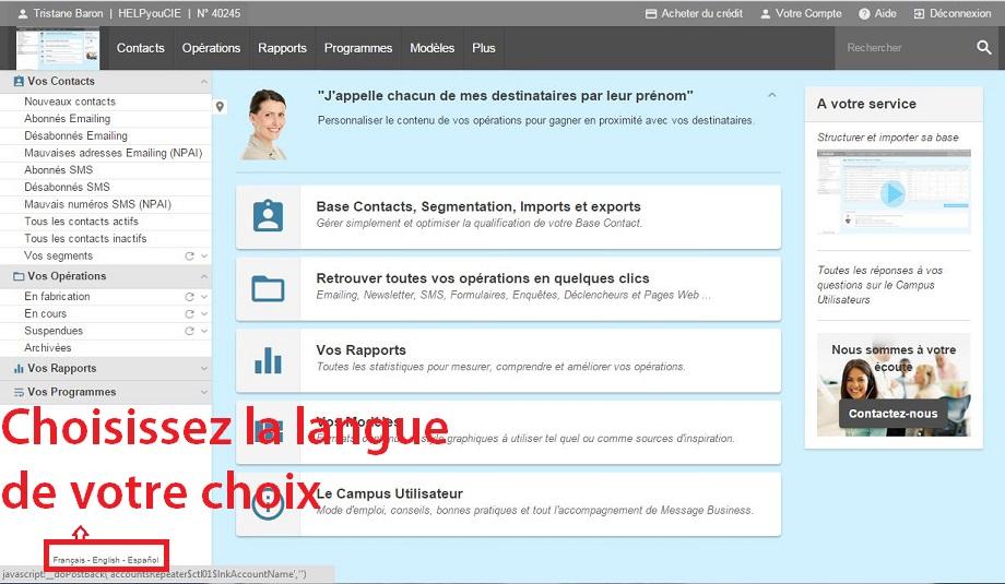 Changez la langue de l'interface Sendethic