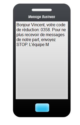 SMS rédigé à l'aide de l'application Sendethic. Exemple de procédure de désabonnement.