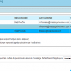 Copie ecran application Sendethic Paramètres de Test