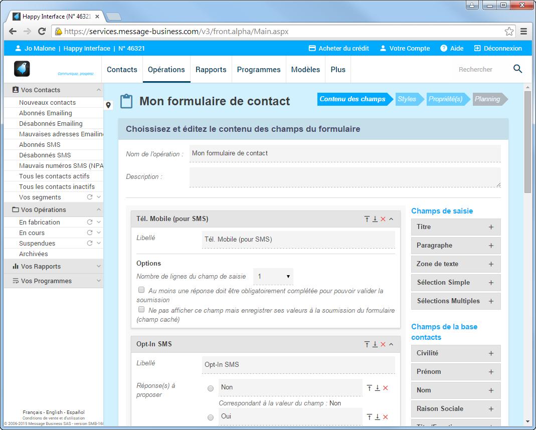 Copie ecran logiciel emailing message business - Formulaire de contact ...