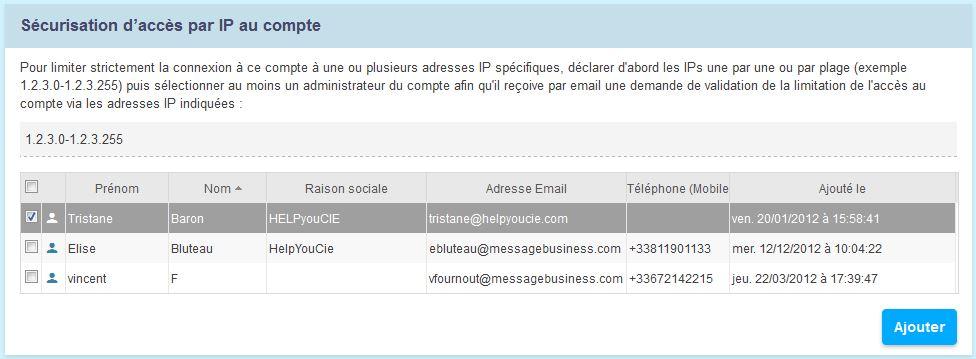 Sécurisation de la connexion au compte par adresse IP