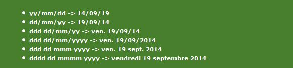 Exemple d'une personnalisation du champ Date pour un contact dont la valeur est 19/09/2014