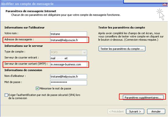 configurer compte pop email transactionnel smtp
