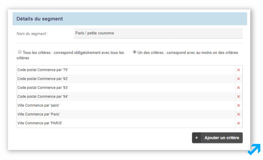 Capture d'écran de l'application Sendethic représentant divers types de segments