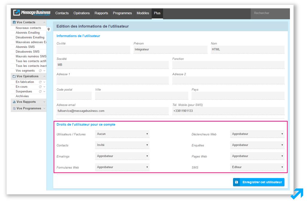 Edition de droits utilisateurs dans l'application Sendethic