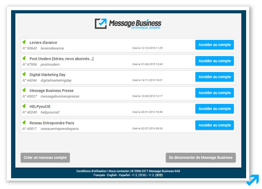 Interface de connexion à vos différents comptes dans l'application Sendethic