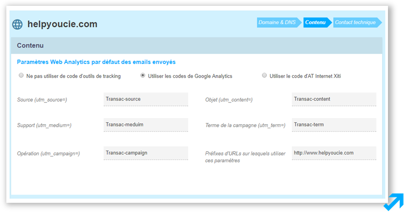 Configuration du suivi Google Analytics dans l'application Sendethic
