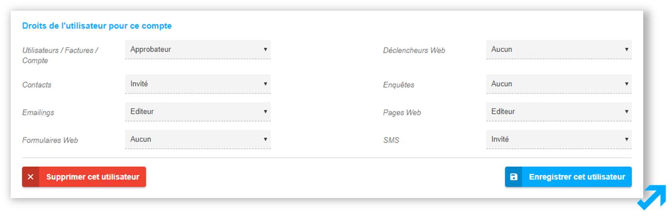 Attribution de droits d'accès dans l'application Sendethic