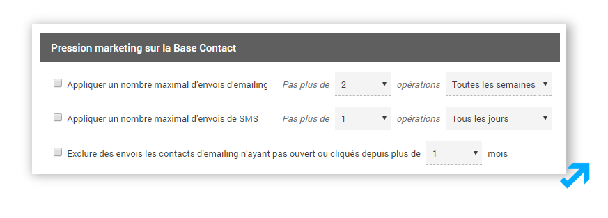 Module de gestion de la pression marketing dans l'application Sendethic