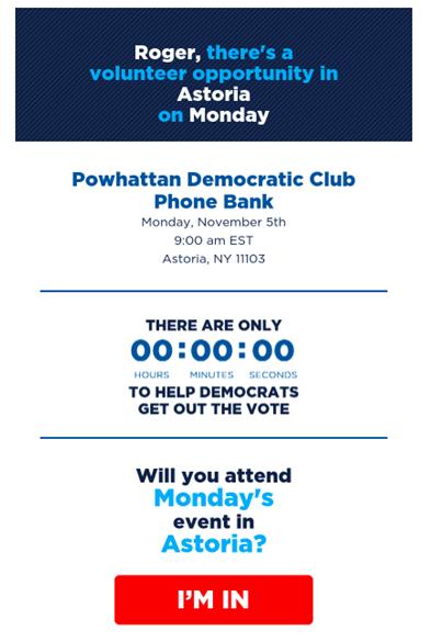 Exemple d'emailing personnalisé avec localisation envoyé pendant la campagne des midterms 2018 par les démocrates