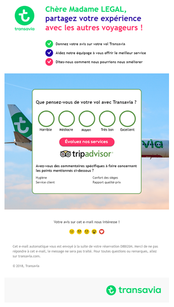 Demande de prescription via TripAdvisor transport aérien - Transavia