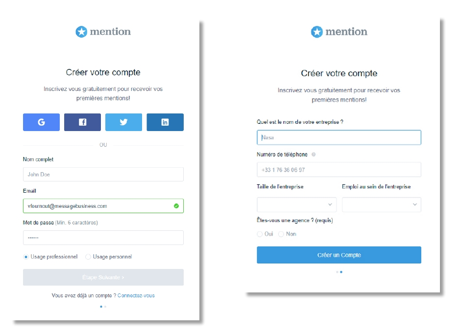 Formulaire de collecte de contacts de Mention